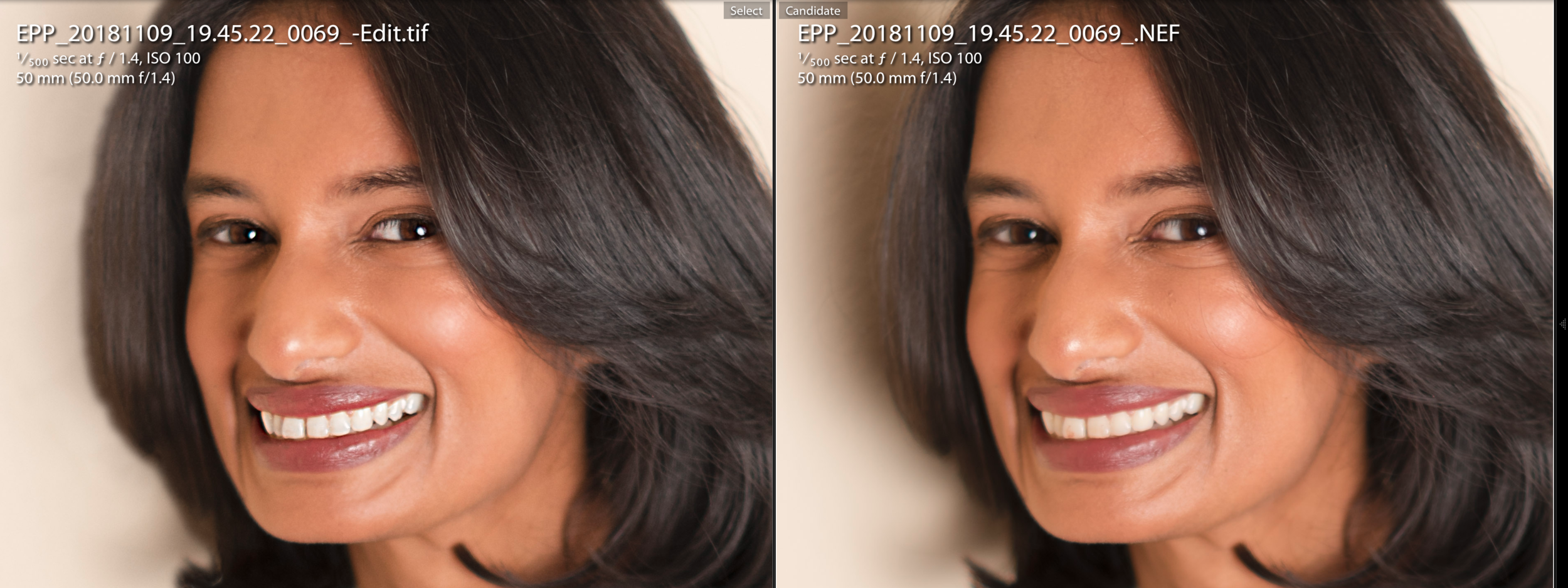"Edited photo on left. Masking (""airbrushing"") blemishes, acne, and stray hairs. Teeth are whitened. This is included in many of the packages    listed here."