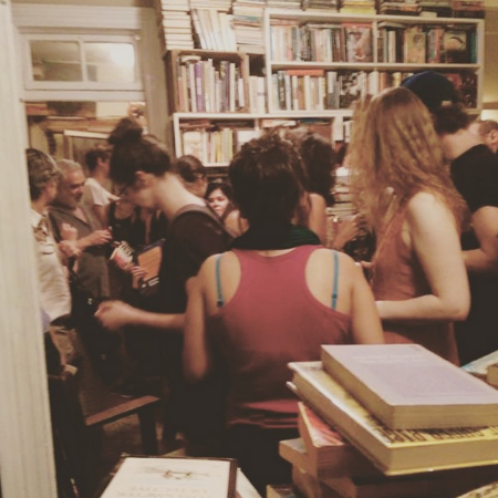 At Brazenhead Books last week. I'm in the dress that makes me look like a Waldorf teacher from the 1990s.