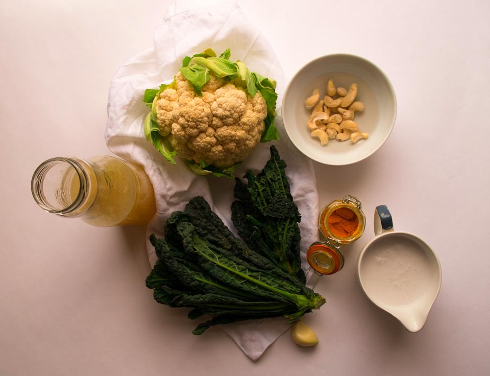 Cauli, cavolo, coco soup ingredients