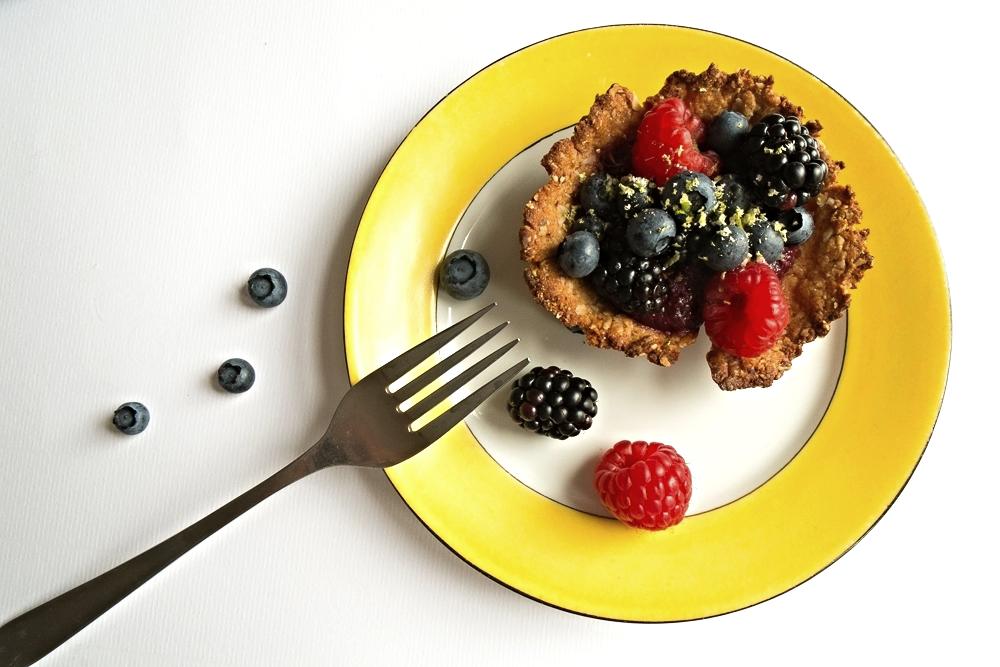Summer berry tart on plate