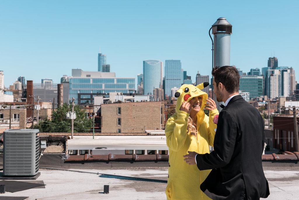Room 1520 Rooftop Pokemon First Look Chicago Wedding