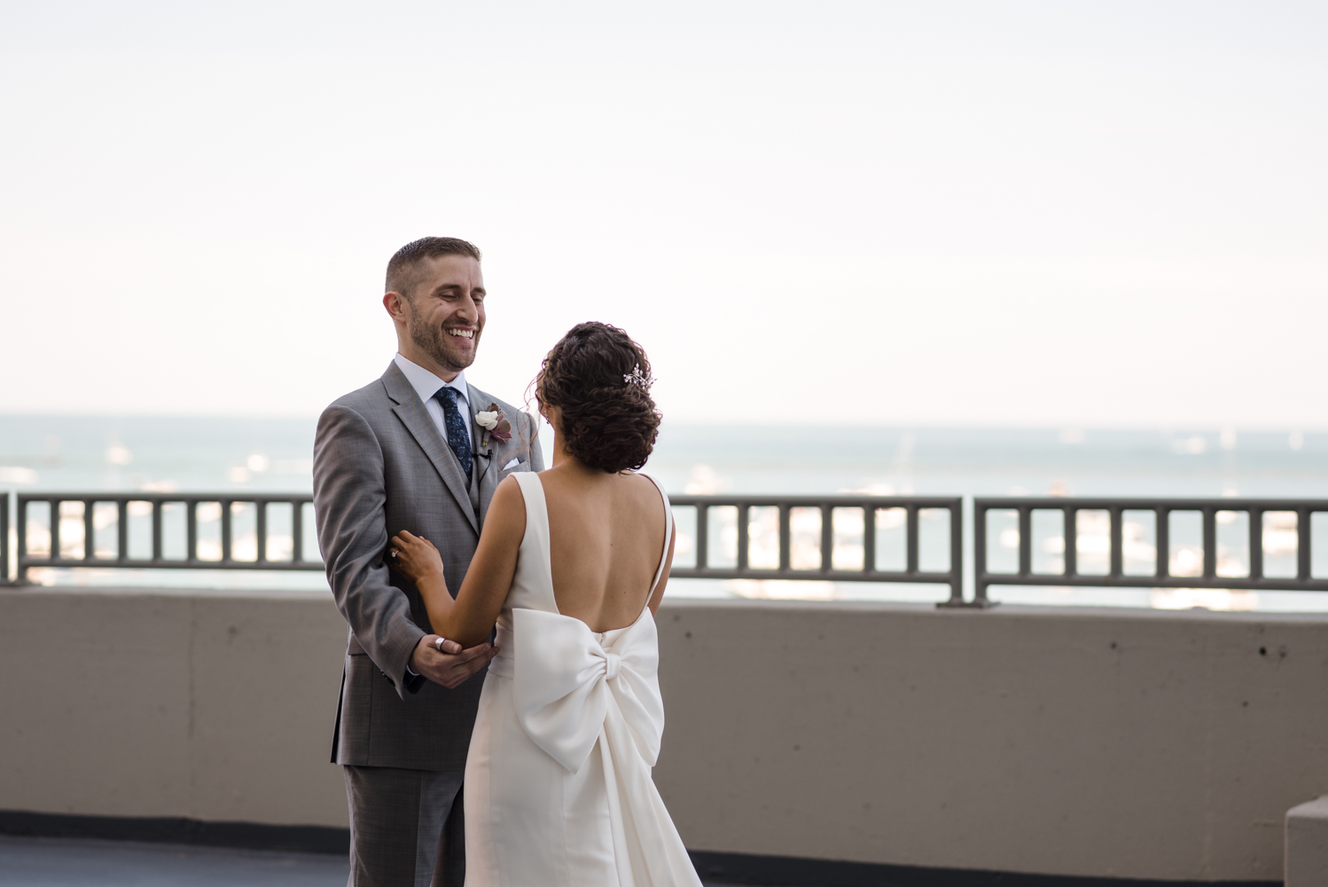 W Chicago Lakefront First Look Wedding Photography