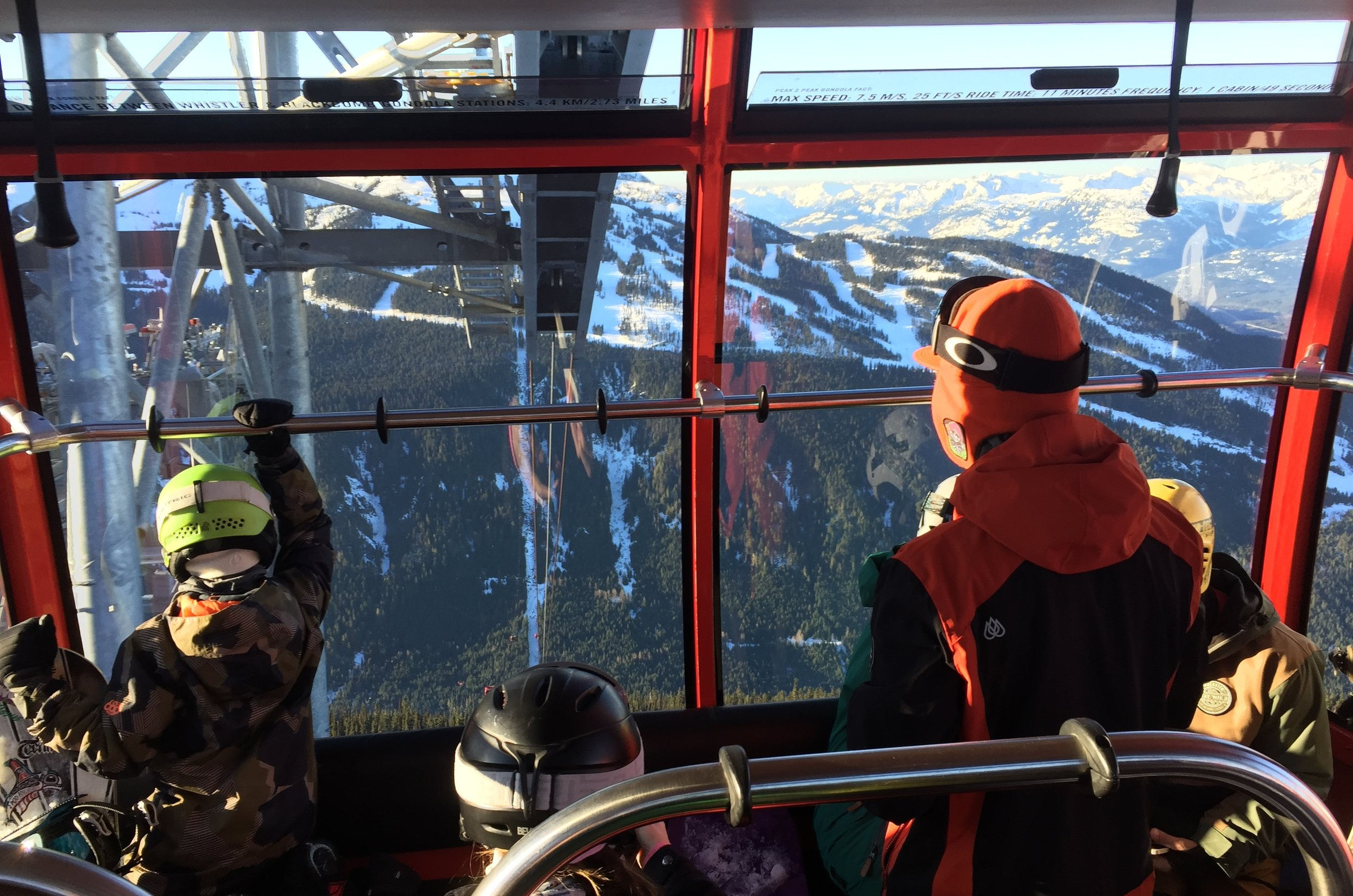 Dropping! - Looking forward at the great abyss of possibility... and Whistler from the Peak2Peak.