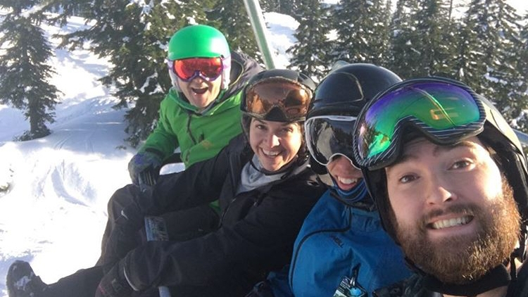 New Years Day shred with Lloyd from SFC North Van, blue skies for days! (crew l-r: me, Betty-Ann, Landon, Lloyd)