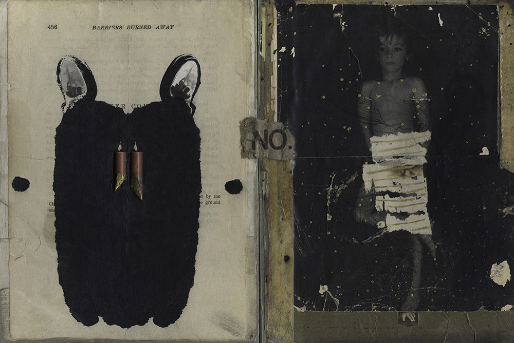 "Image selected for exhibition- ""Barriers burned away"" 2014-Photograph transfer on vintage book sheet, oil, vintage paper, tape, collage, on panel."