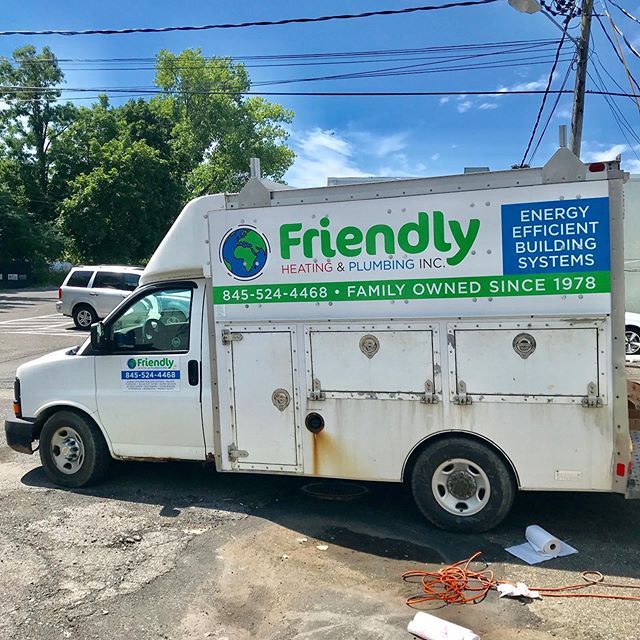 Check out this vinyl logo/lettering job we did for Friendly Heating & Plumbing. We designed a brand new logo for them to spruce up their work truck and promote their business. #vinyl #lettering #graphicdesign #signs #mimaki #heatingandcooling #plumbing #truck