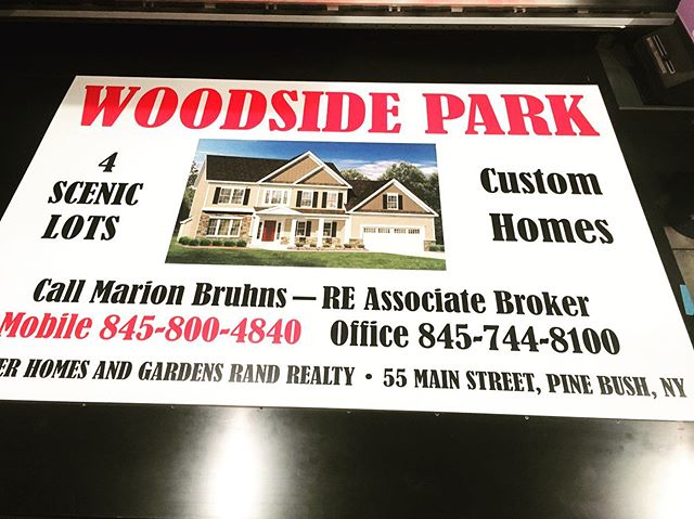 "Huge double-sides real estate sign printed on our flatbed printer. Printed directly onto .040 aluminum with UV inks and a printed clear coat. Our flatbed printer can print on any flat surface up to 4'x8' and 2"" thick! #signs #mimaki #flatbedprinter #realestate #hudsonvalley"