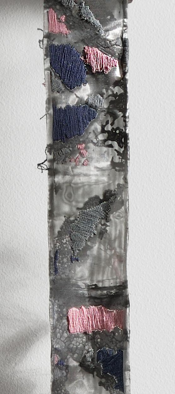"Detail of ""Unraveled"" (Screen print, steel mesh, silk yarn embroidery)"