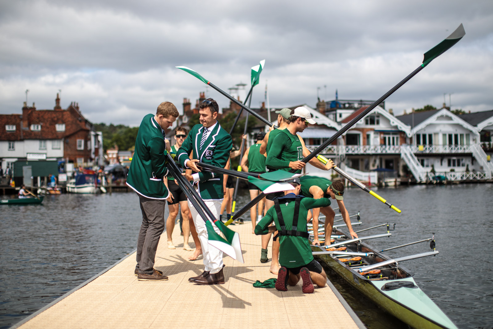 A rowing crew prepare ahead of a race at the Henley Royal Regatta on June 30, 2017 in Henley-on-Thames.