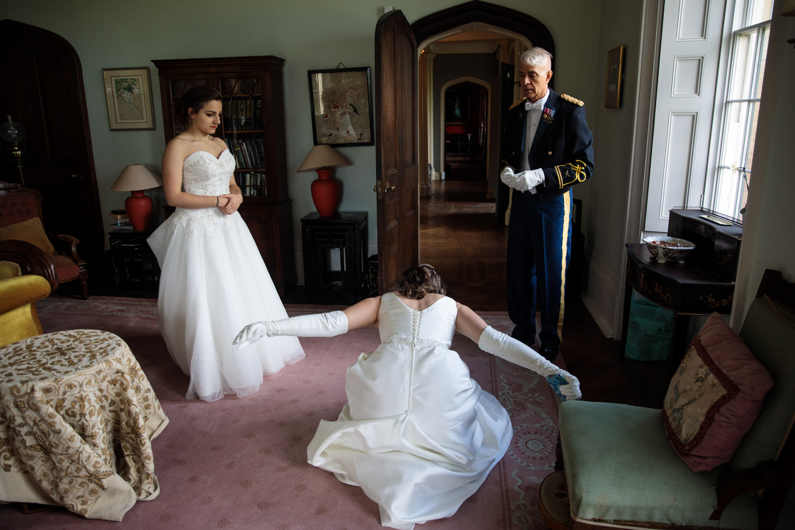 A debutante practices her dip curtsy at Boughton Monchelsea Place ahead of the Queen Charlotte's Ball on September 09, 2017 in Maidstone.
