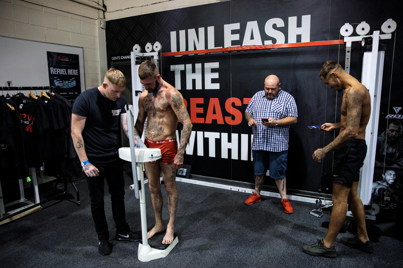 MANCHESTER, ENGLAND: Bare-knuckle boxers weigh-in ahead of an Ultimate Bare Knuckle Boxing (UBKB) event at Bowlers Exhibition Centre on August 4, 2018.