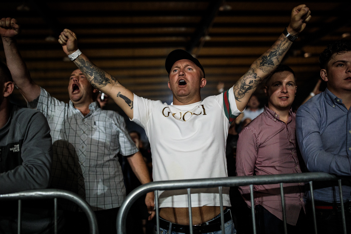 MANCHESTER, ENGLAND: The audience cheer during an Ultimate Bare Knuckle Boxing (UBKB) event at Bowlers Exhibition Centre on August 4, 2018.