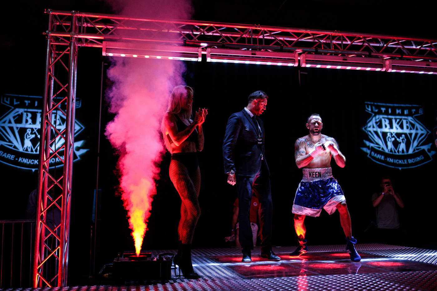 MANCHESTER, ENGLAND: Bare-knuckle boxer Duane Keen, 40 from Blaenavon in Wales, enters the arena during an Ultimate Bare Knuckle Boxing (UBKB) event at Bowlers Exhibition Centre on August 4, 2018.