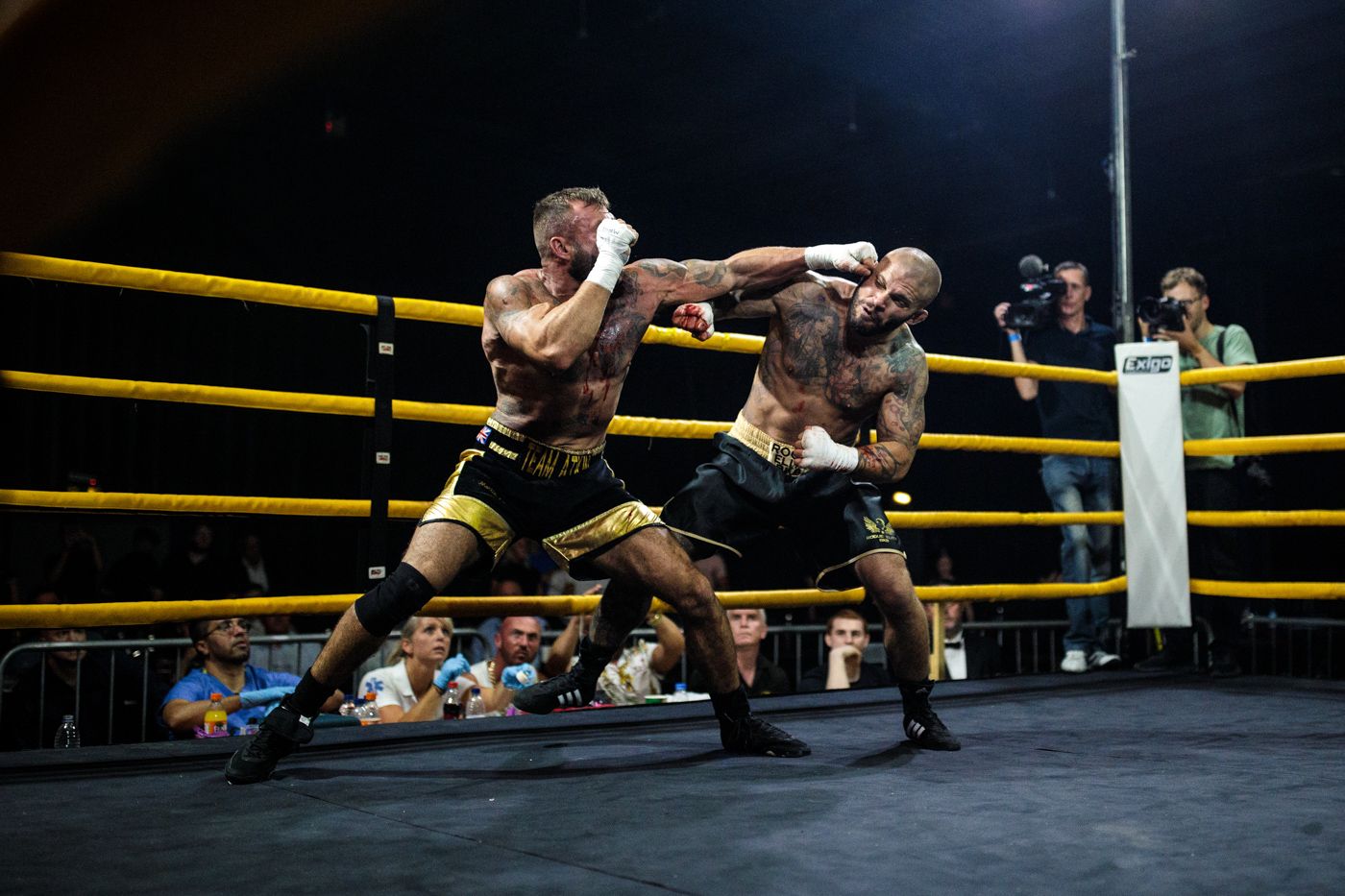 MANCHESTER, ENGLAND Two-time World Bare-Knuckle Boxing Champion Luke Atkin, age 30 from York (L) takes on Dom Clark, 35 from Bournemouth for the Rogue Elite world title at an Ultimate Bare Knuckle Boxing (UBKB) fight at Bowlers Exhibition Centre on August 4, 2018.