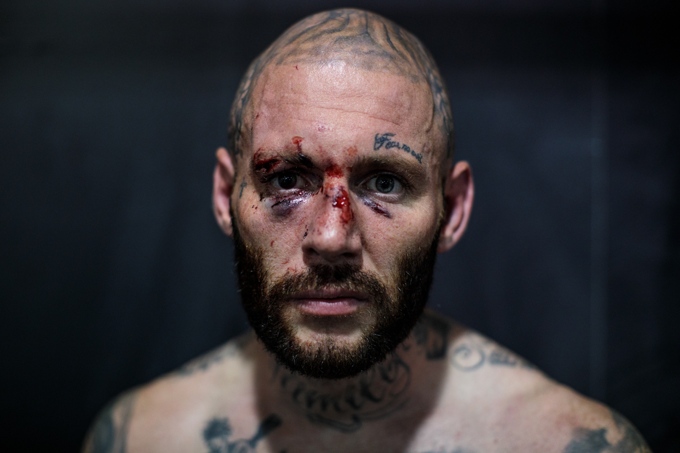 MANCHESTER, ENGLAND: Bare-knuckle boxer Chris Wheeldon, age 36 from Warrington, poses for a photo before his fight at an Ultimate Bare Knuckle Boxing (UBKB) event at Bowlers Exhibition Centre on August 4, 2018.