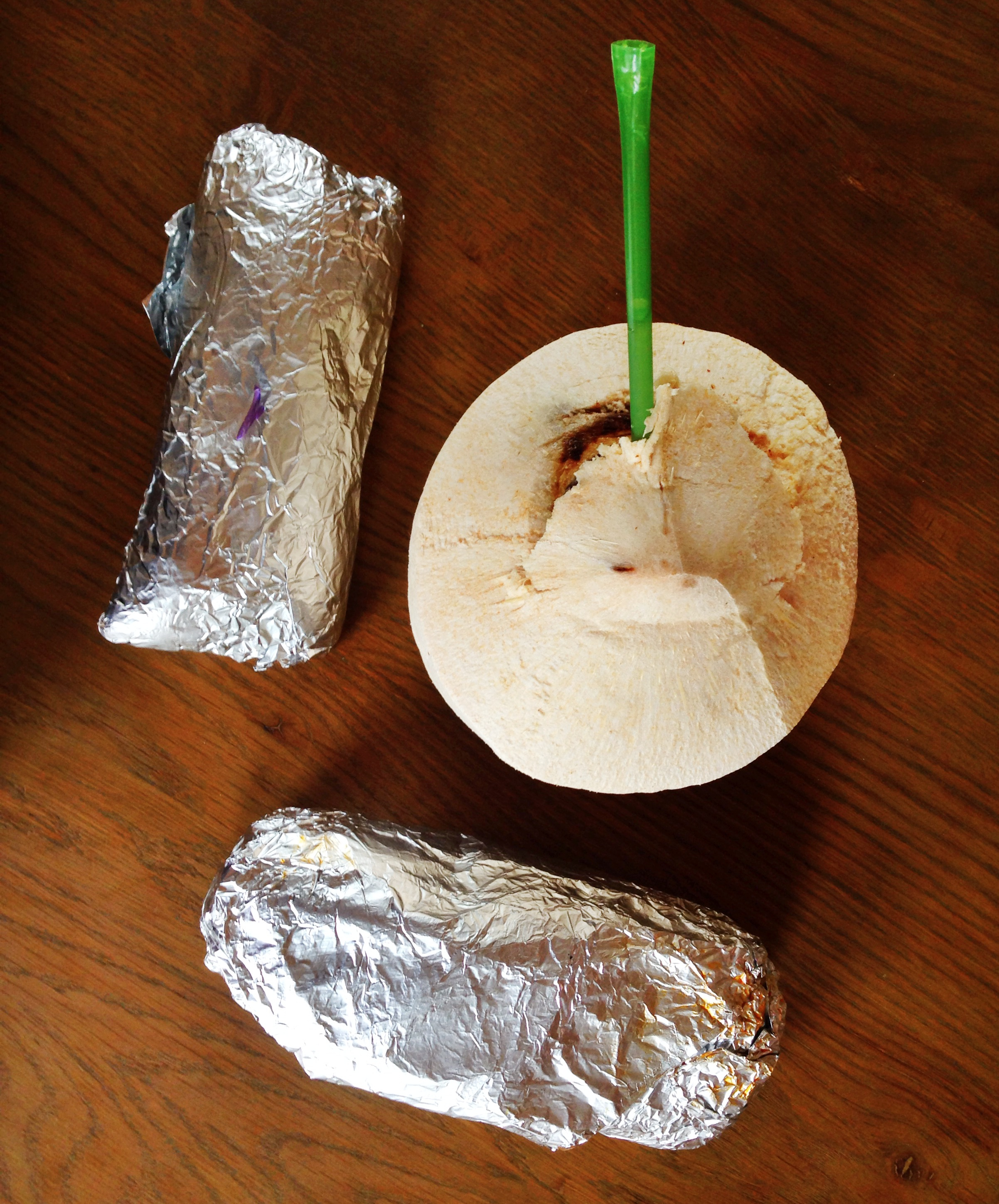 {Burritos and a coconut from my favorite spot,  The Green , in Nantucket}