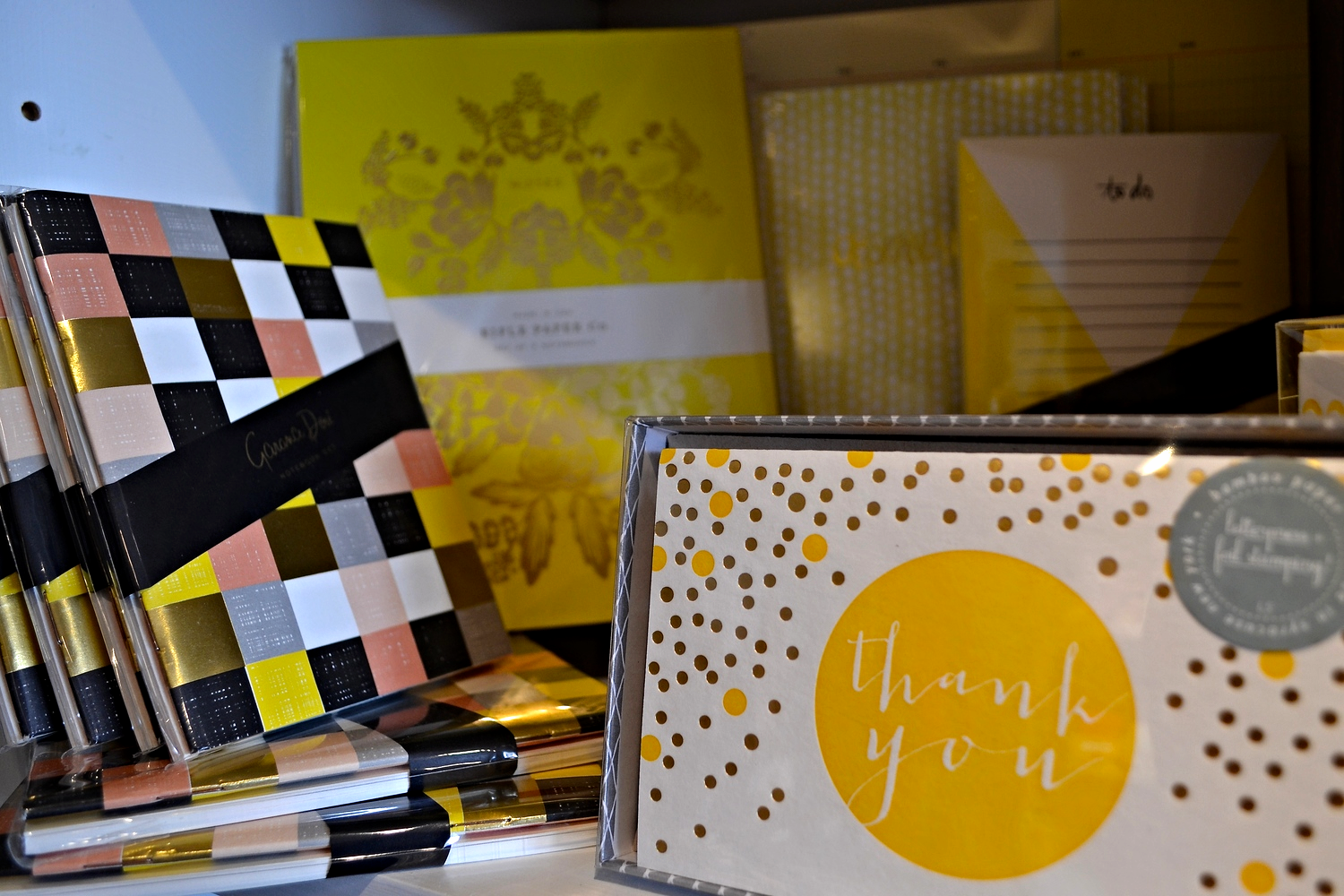 {Can you tell I love stationary? Some yellow cards at  Parchment }