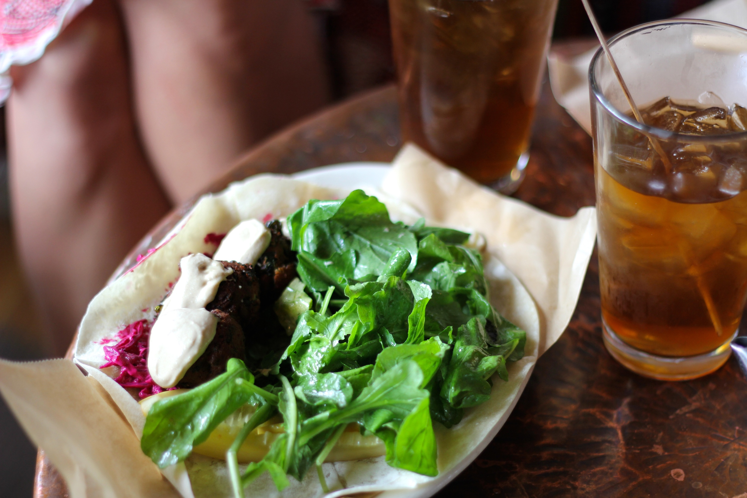 {Spinach falafel with beet tzatziki and green salad}