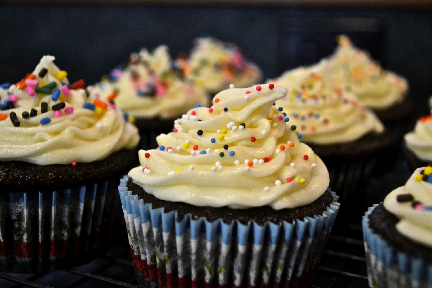 {Chocolate cupcakes with cream cheese frosting}
