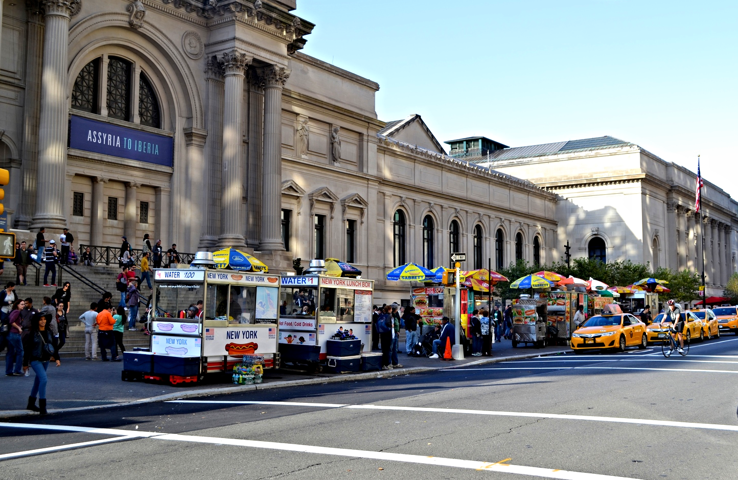 {Classic NY scene: Museum of Nat. History, hot dog stands, taxis}