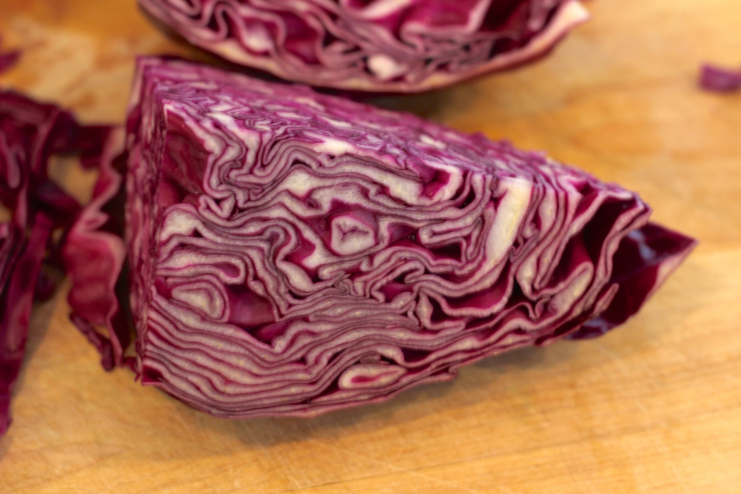 {The beautiful pattern and coloring of some red cabbage}