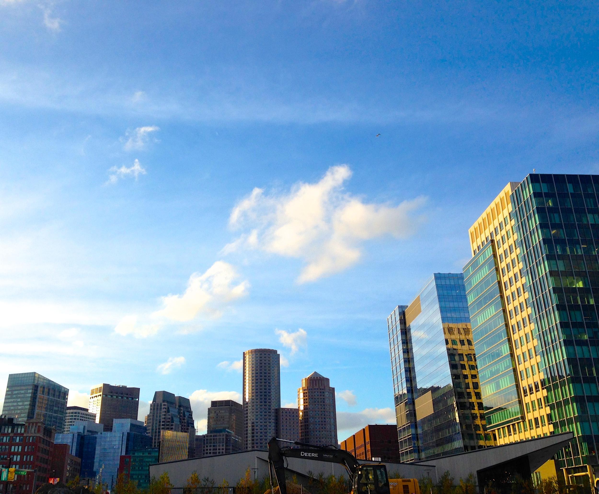 {A beautiful fall walkdown by the seaport in Boston}