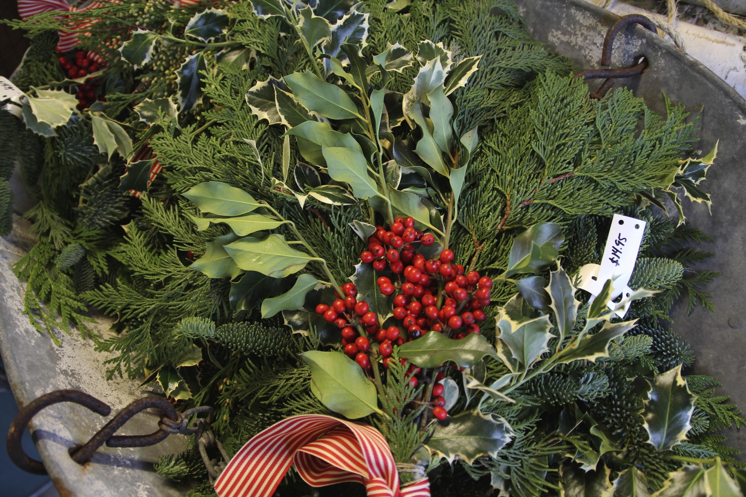 {Festive greenery at a local farmer's market}