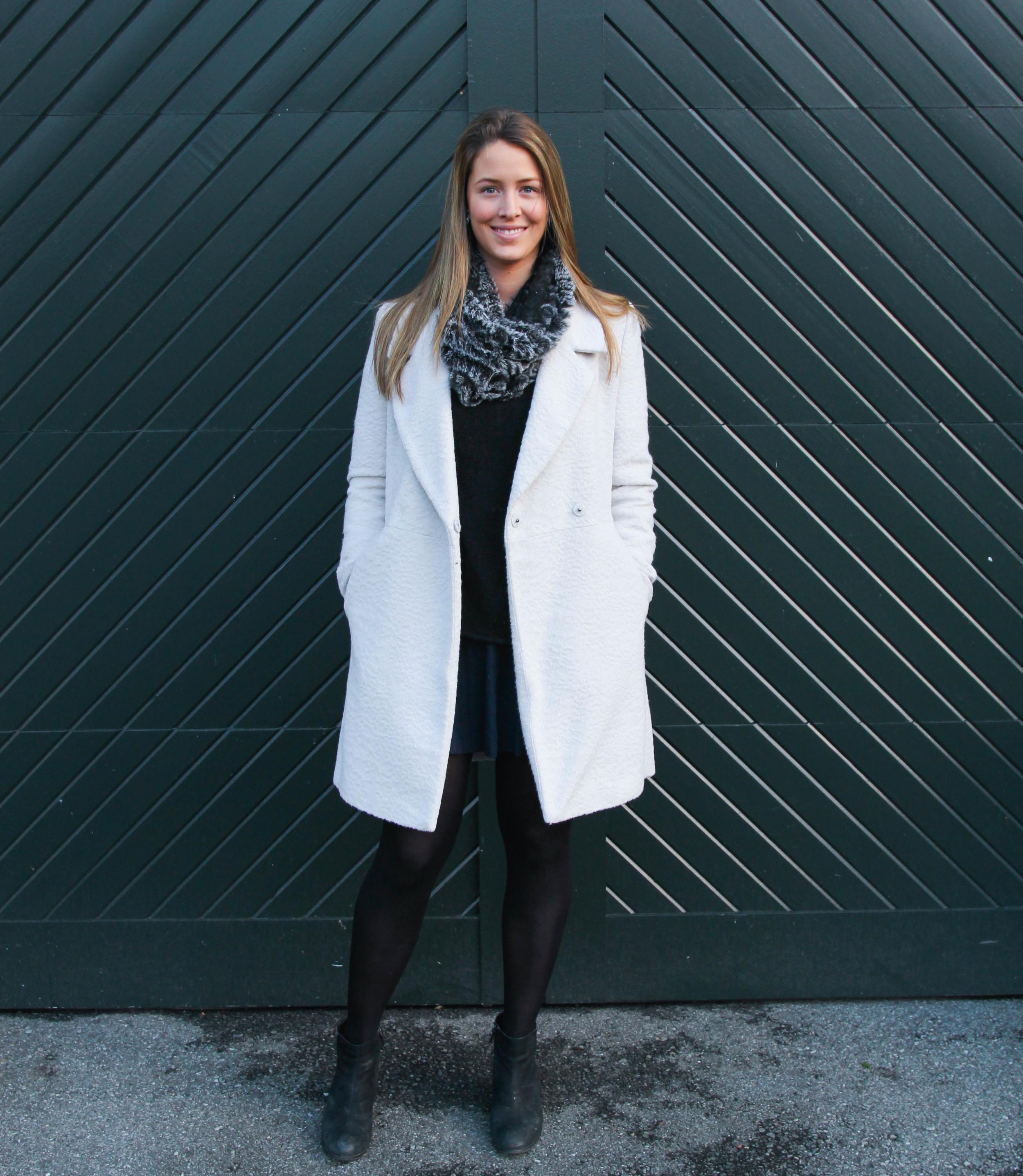 H&M sweater (  similar  ), Theory Skirt (  similar  ,  similar  )  Tahari Jacket (  similar  ,  similar  )  , HUE tights,  Bata booties  (  similar  ),  Saks Fifth Ave scarf  ,  Heidi Weddendorf  pearl earrings.