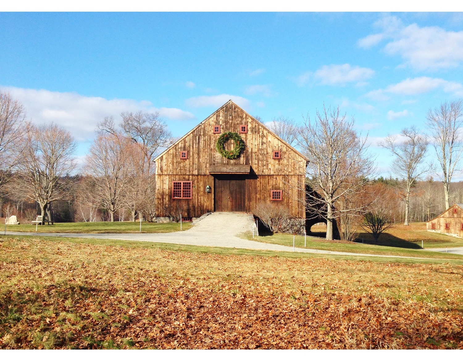 {Festive wreath on one of my favorite barns.}