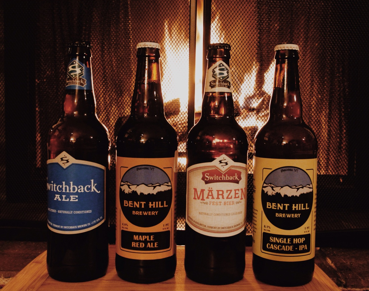 {Some tasty local VT beers by the fire}