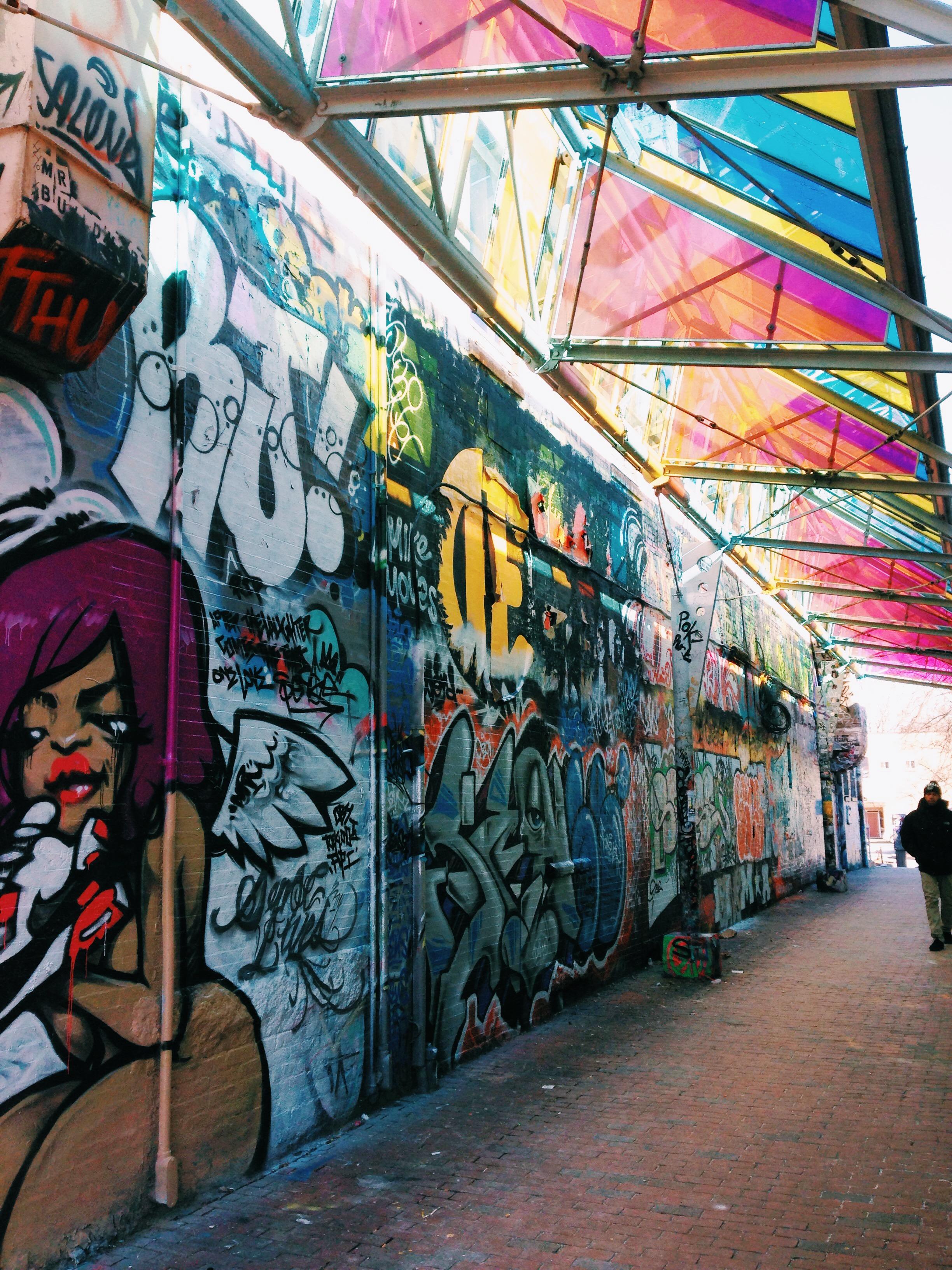 {Graffiti and pretty lights in Central Square}