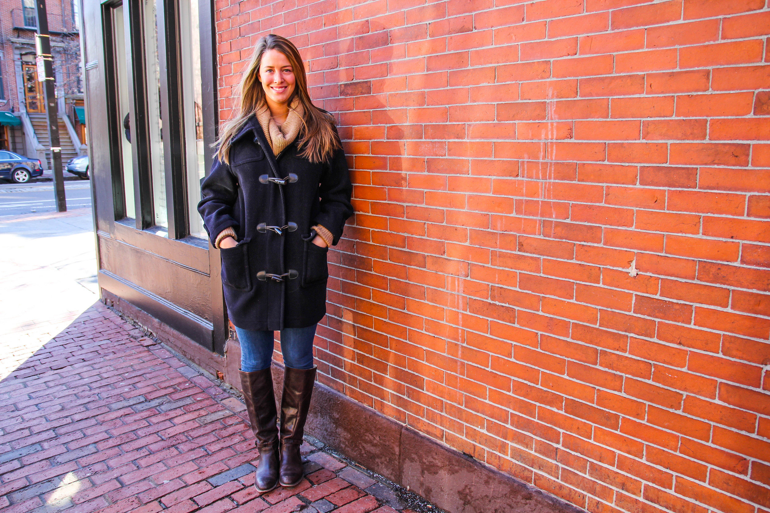 Outfit details:  Vince Sweater ( similar on sale),  MadewellJeans ,  Frye boots ,  St. James coat }