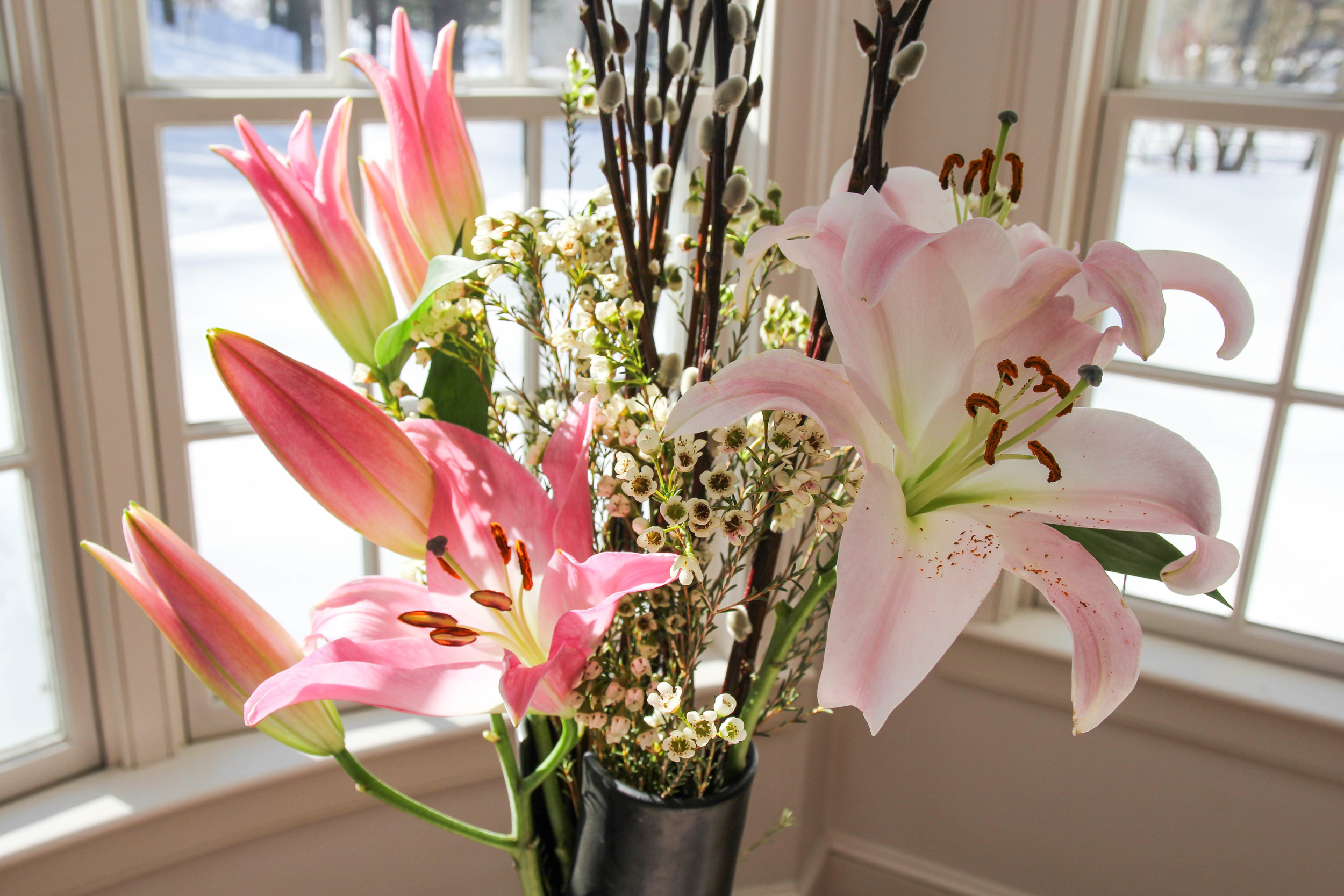 {Beautiful arrangement at home...Spring is coming folks!}