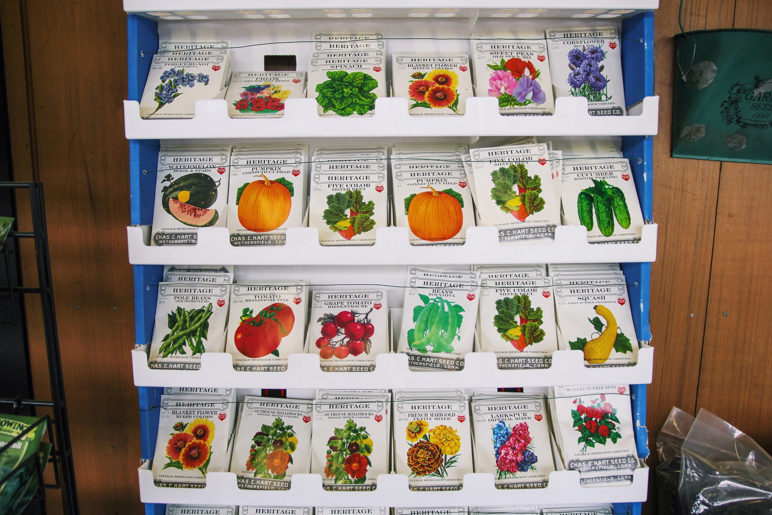 {Pretty packets of seeds at Verrill Farm}