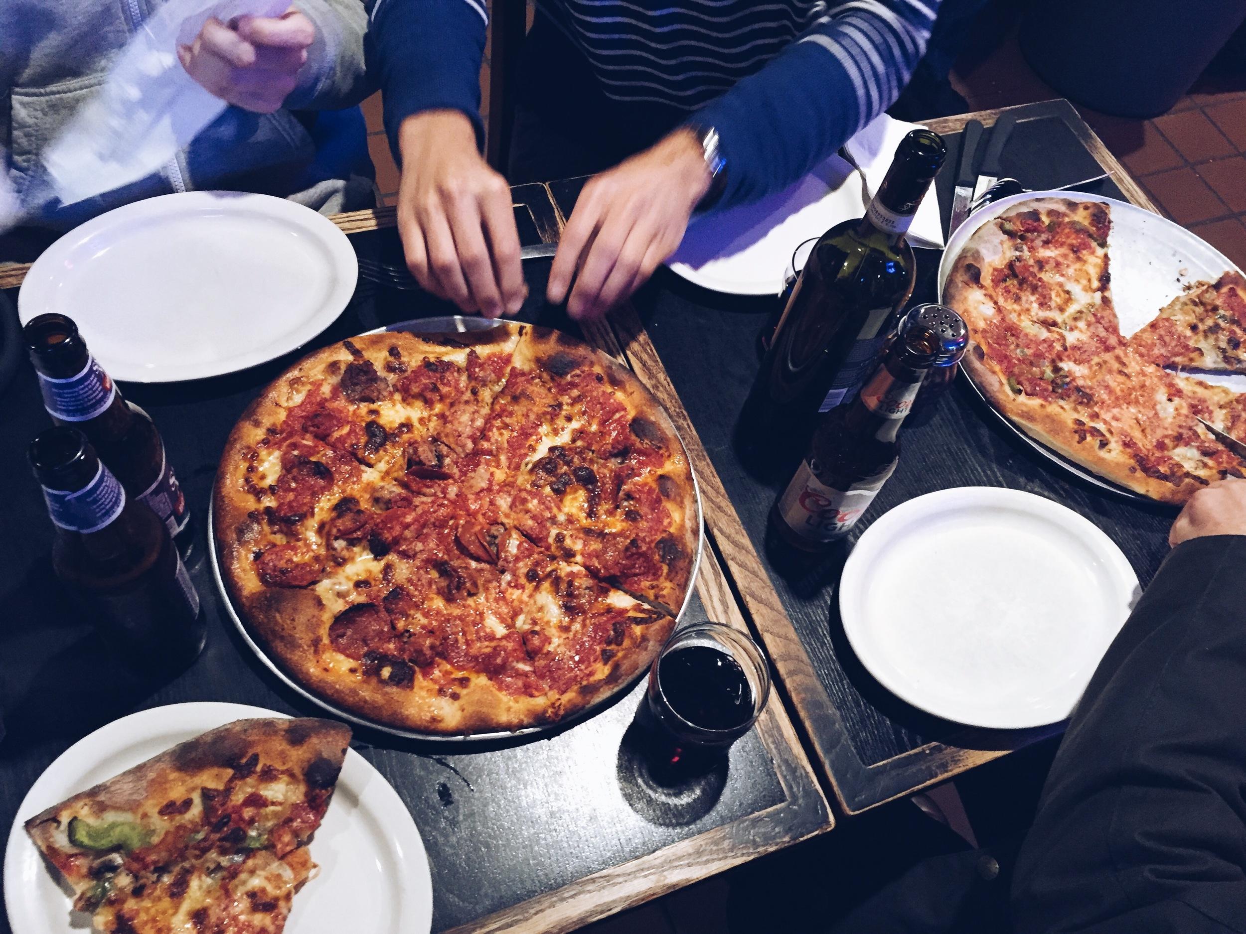 {A delicious pizza lunch at an old Boston spot:  Santarpio's }