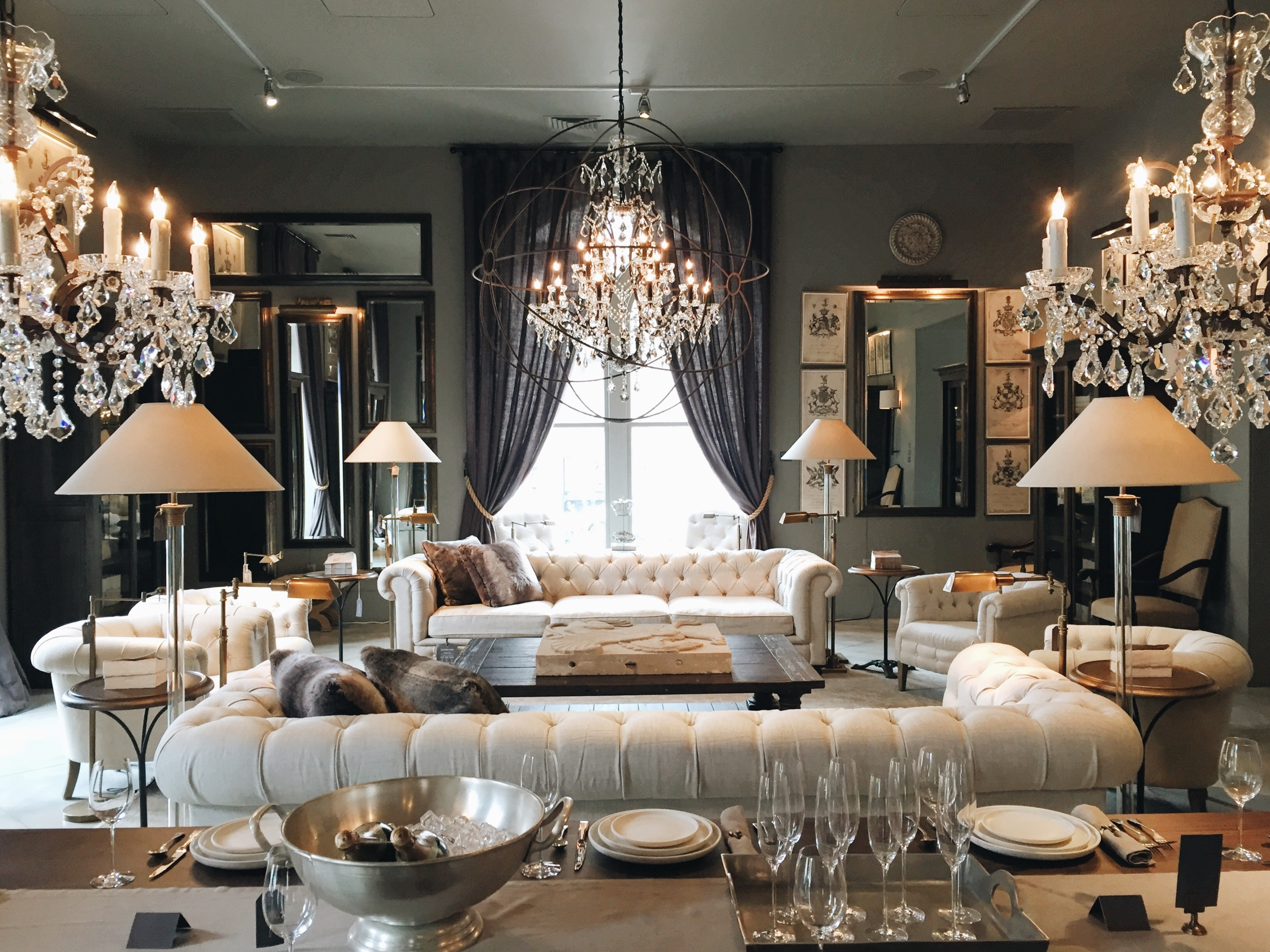 {Mornings spent at Restoration Hardware aren't too bad...the Boston showroom is incredible}