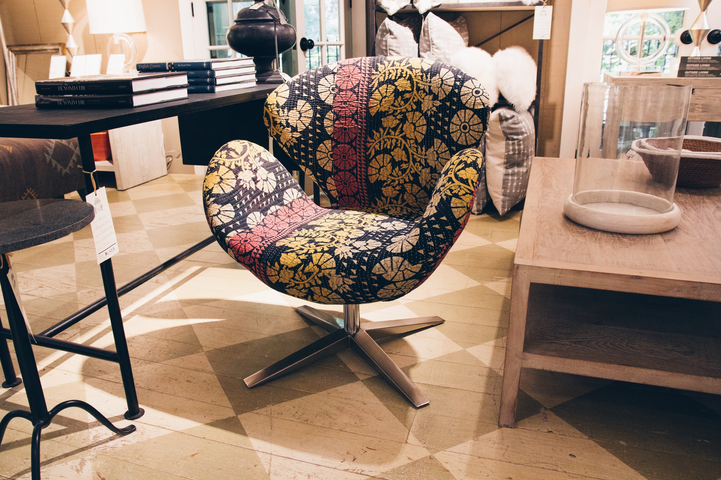 {I love this mid century chair reupholstered in a vintage kantha quilt}