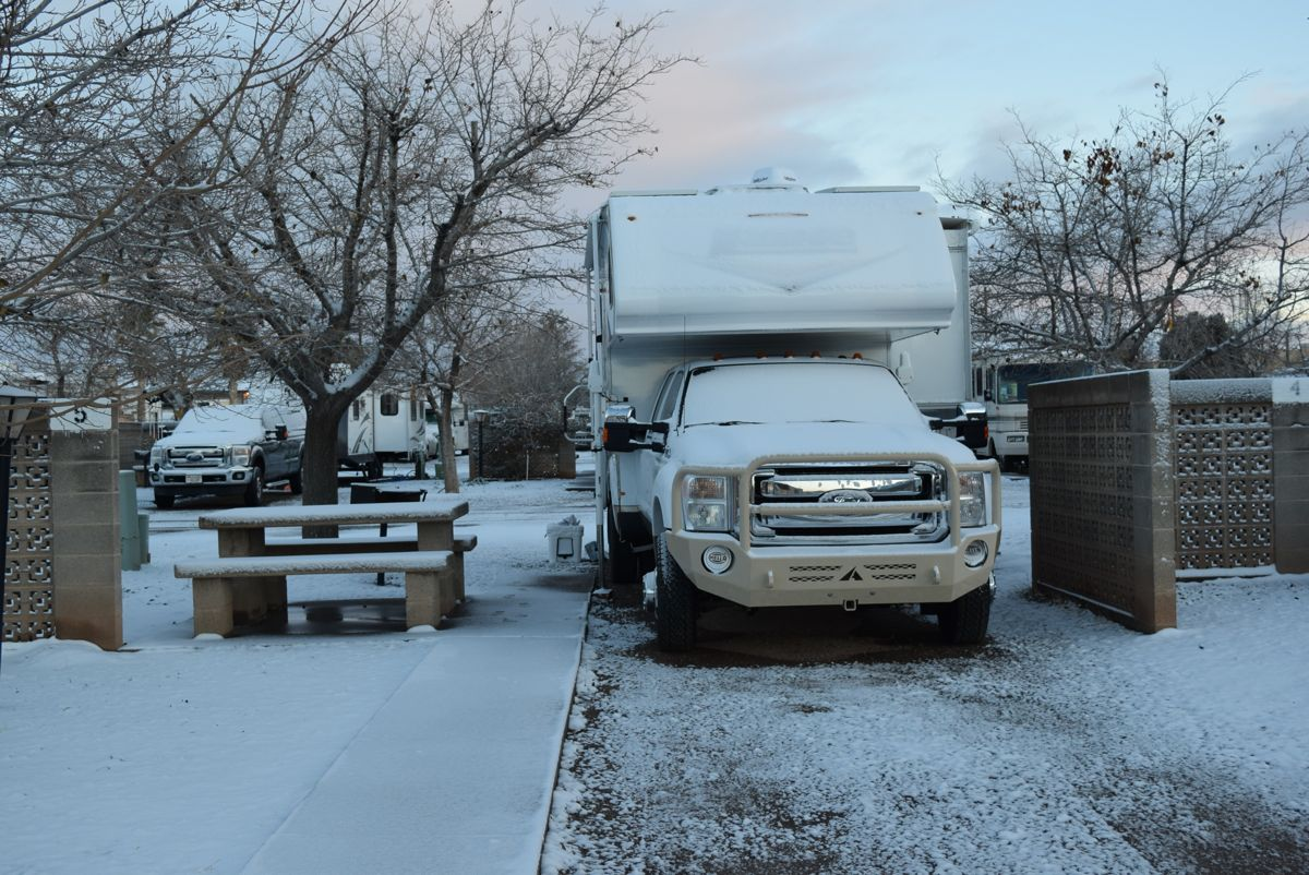 First snow in the camper. Only a small amount. Roswell (where we were headed) got over four inches.