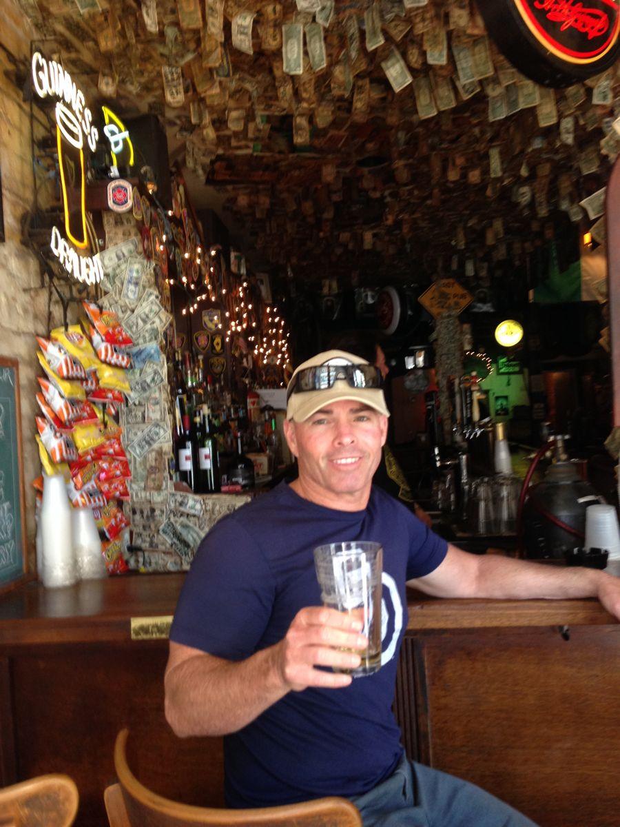 Paul enjoying a beer at Kerry's Pub.