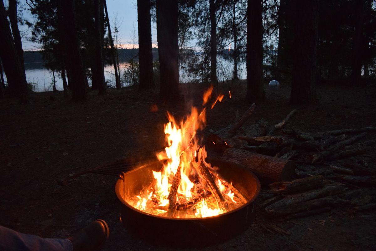 A fire at sunset.
