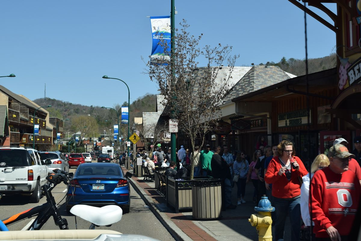 Downtown Gatlinburg. I thought Paul would clip someone with the side mirror!