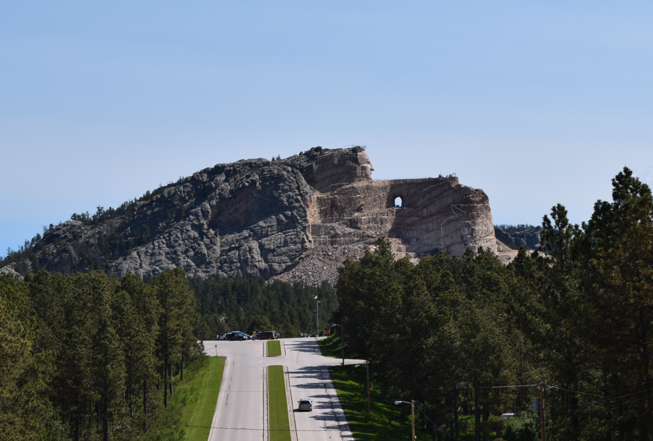 Driving toward the Crazy Horse monument.
