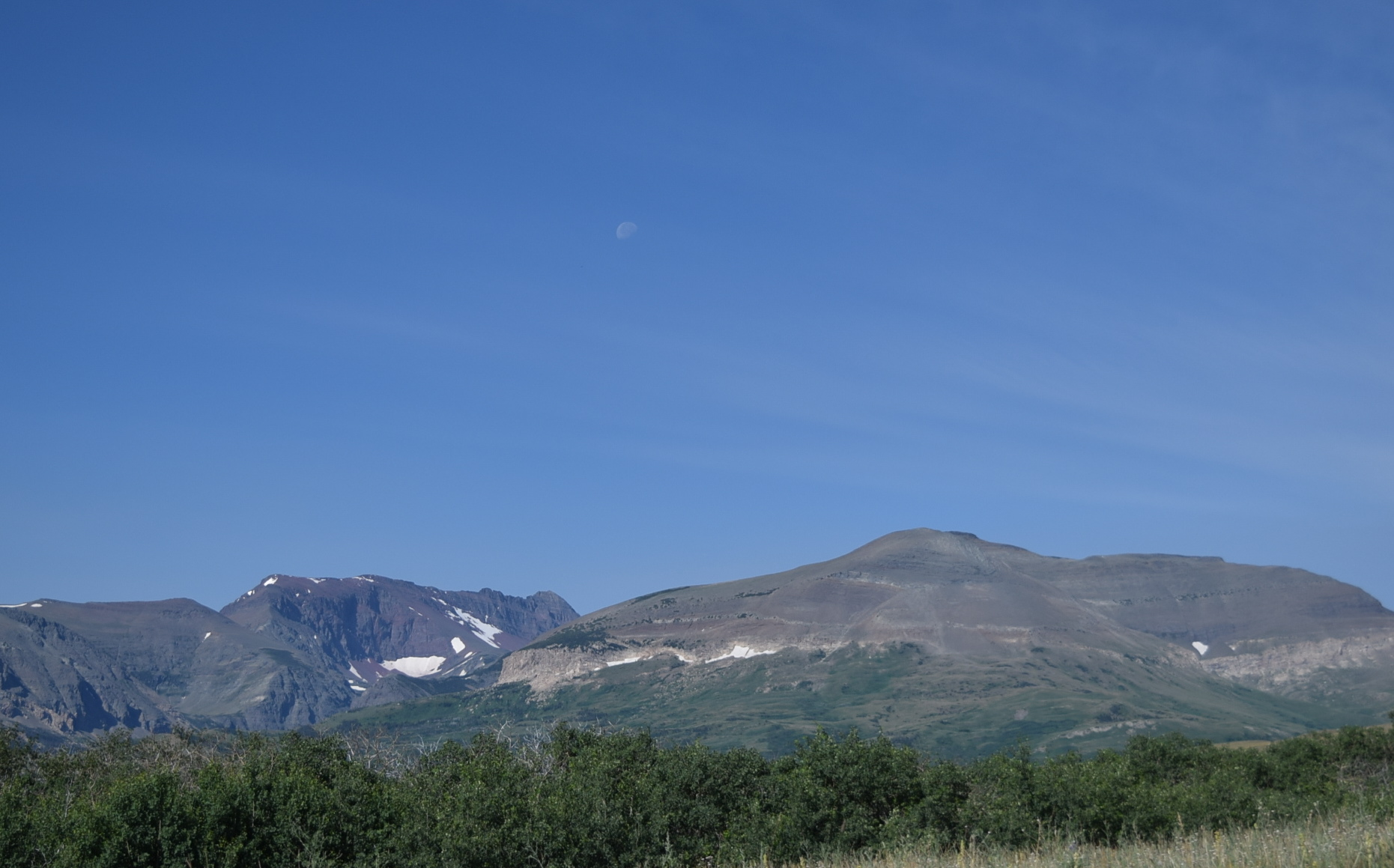 The moon over the glaciers.