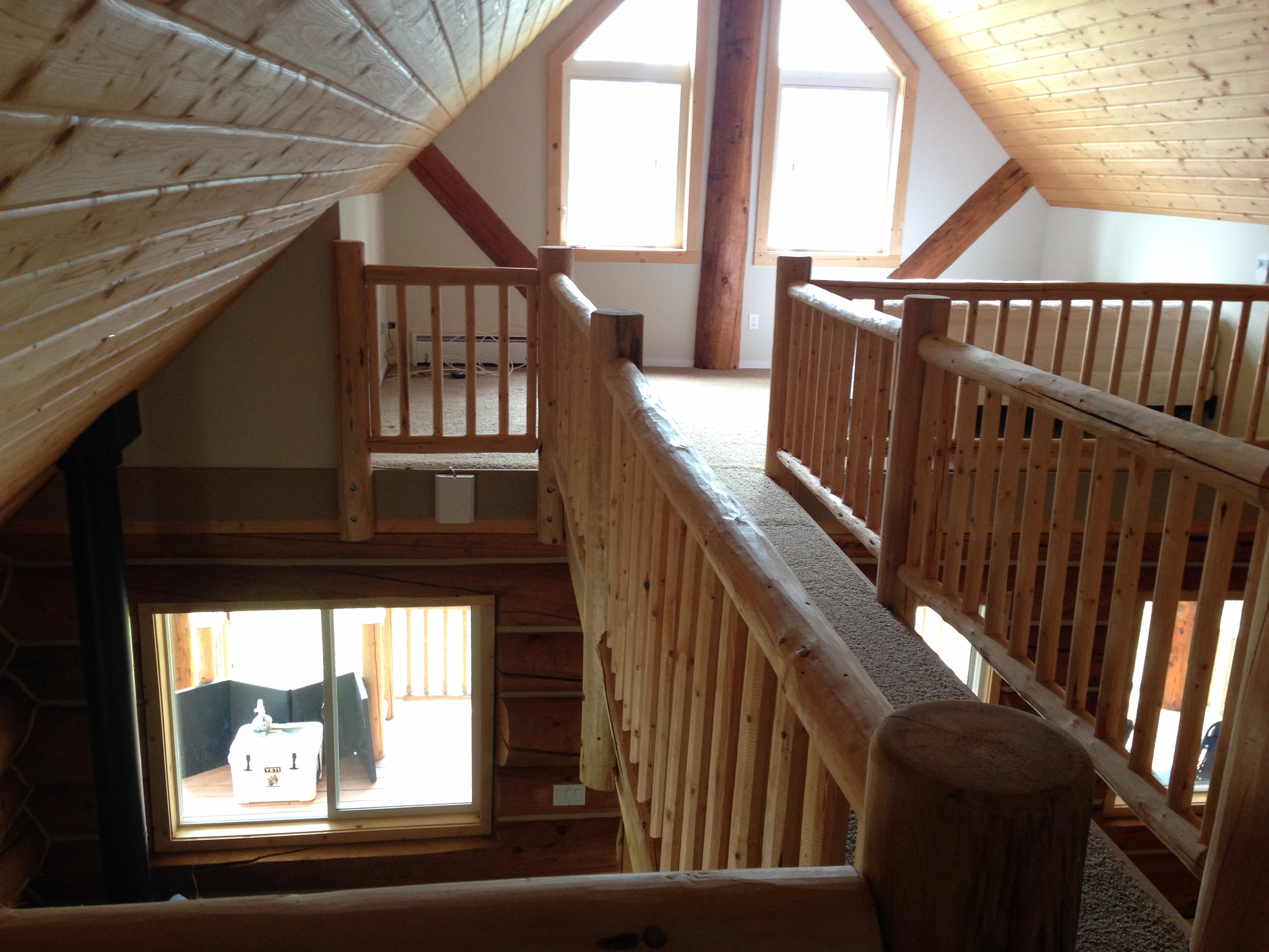 Looking across the catwalk to the guest room.
