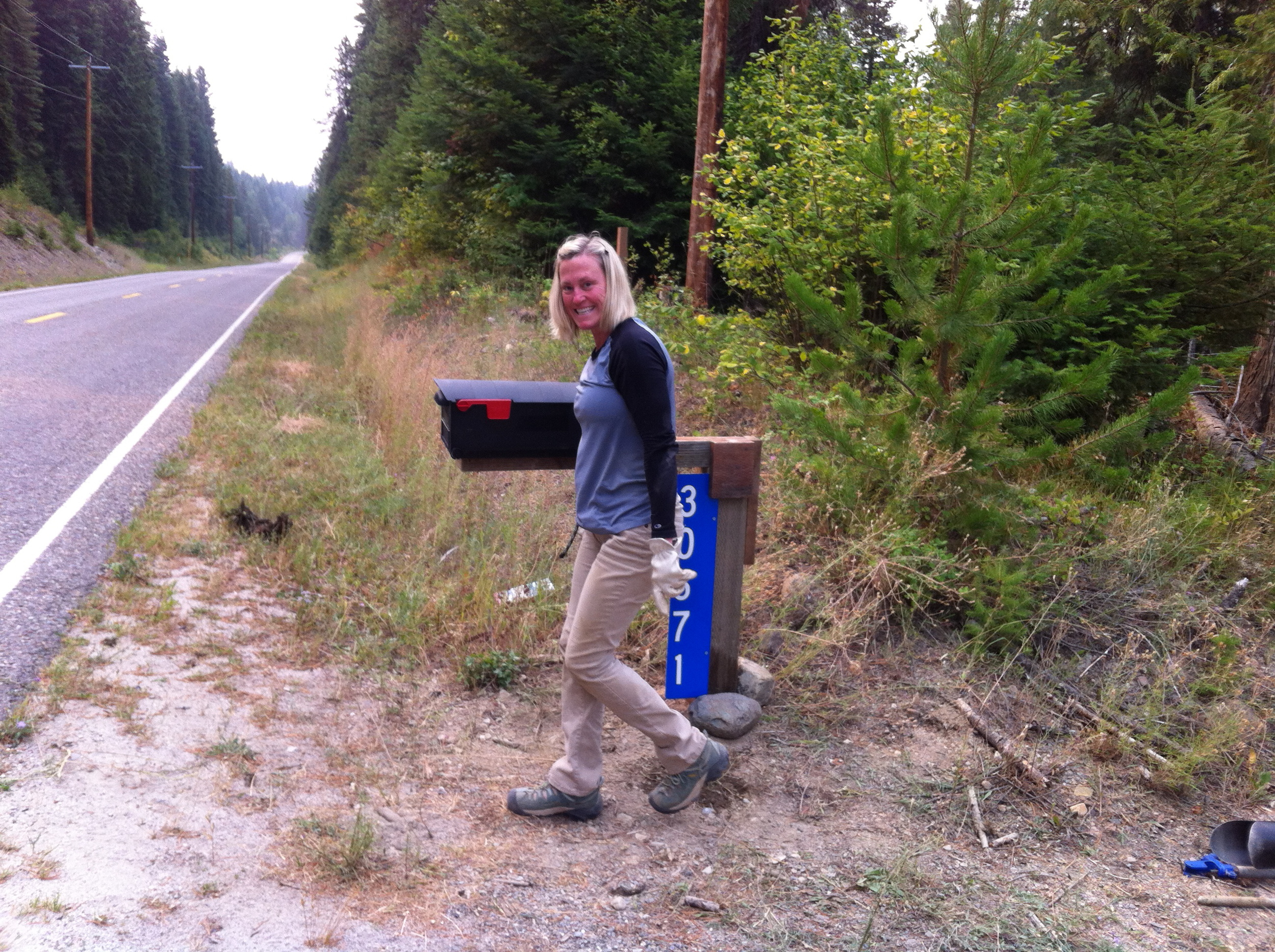 We planted a mailbox, which makes us official! Digging through dry rocky soil is no joke!