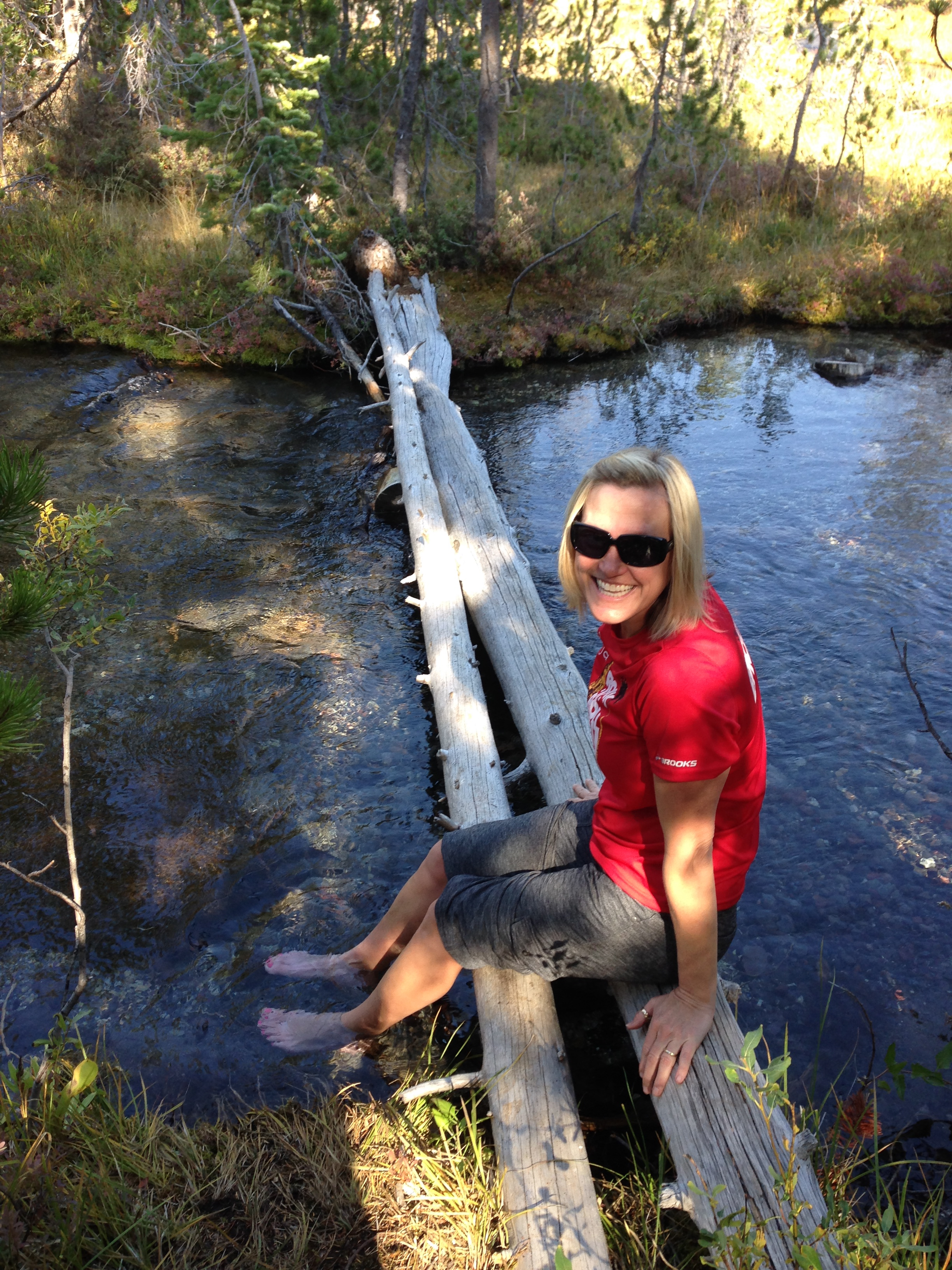 Cooling off my tootsies at the end of the hike.