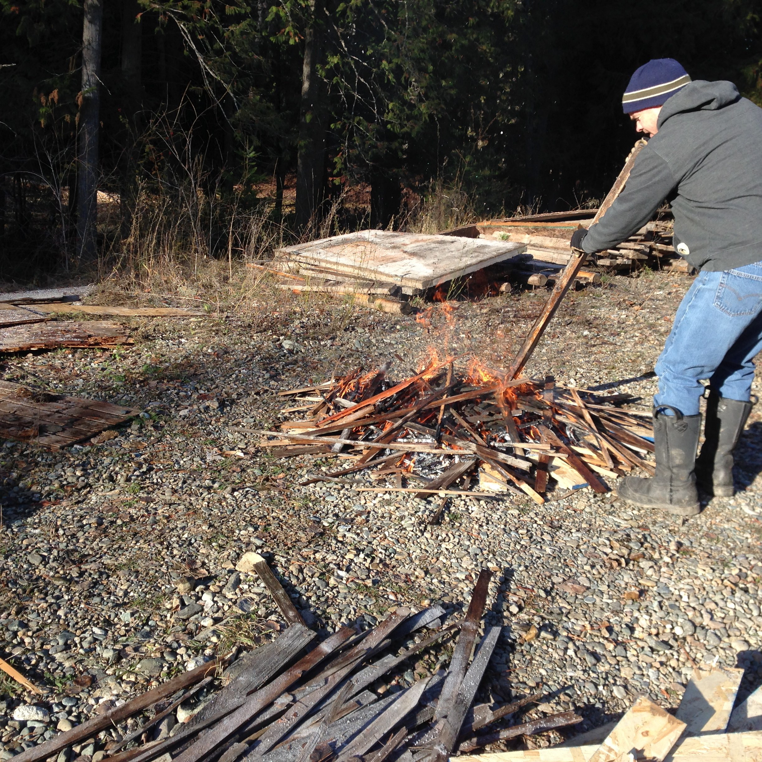 Burning some of the crap we collected on the property.