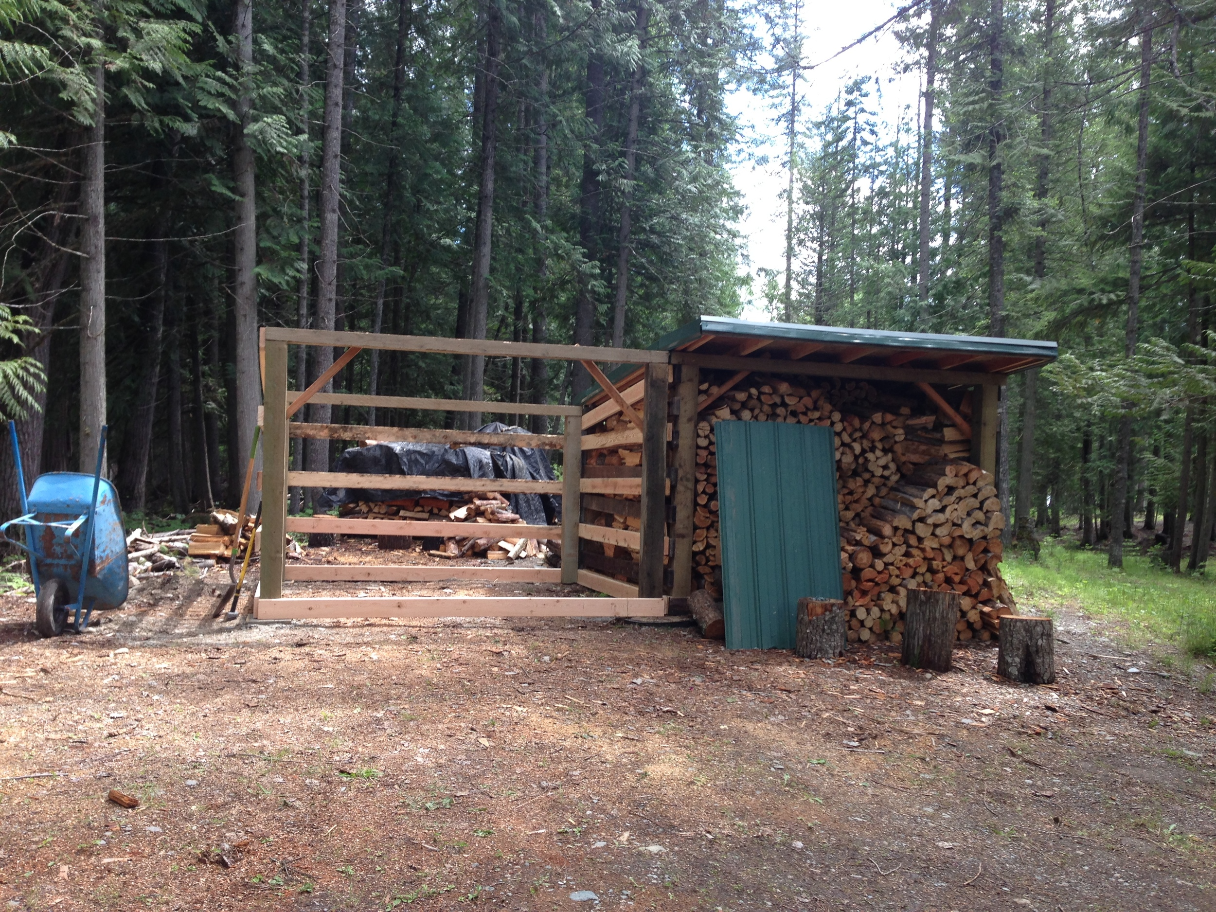 Second wood shed during construction.