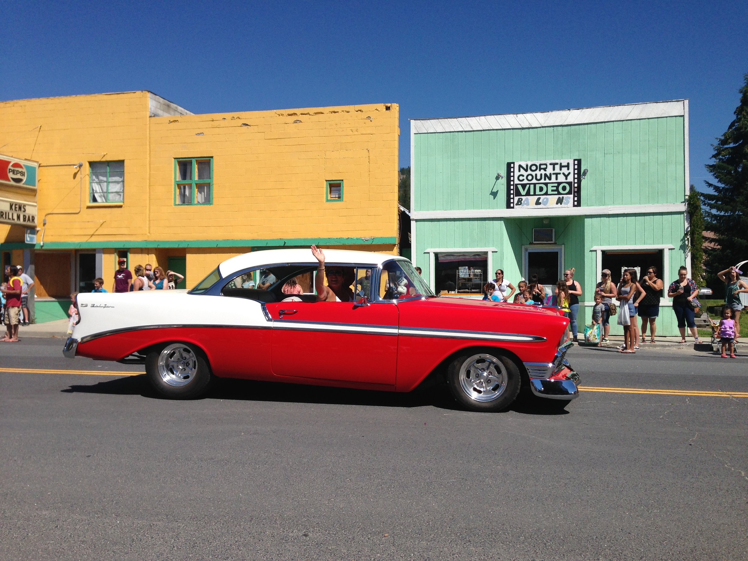 The nicest car in the parade. Our friends Stan and Sara.