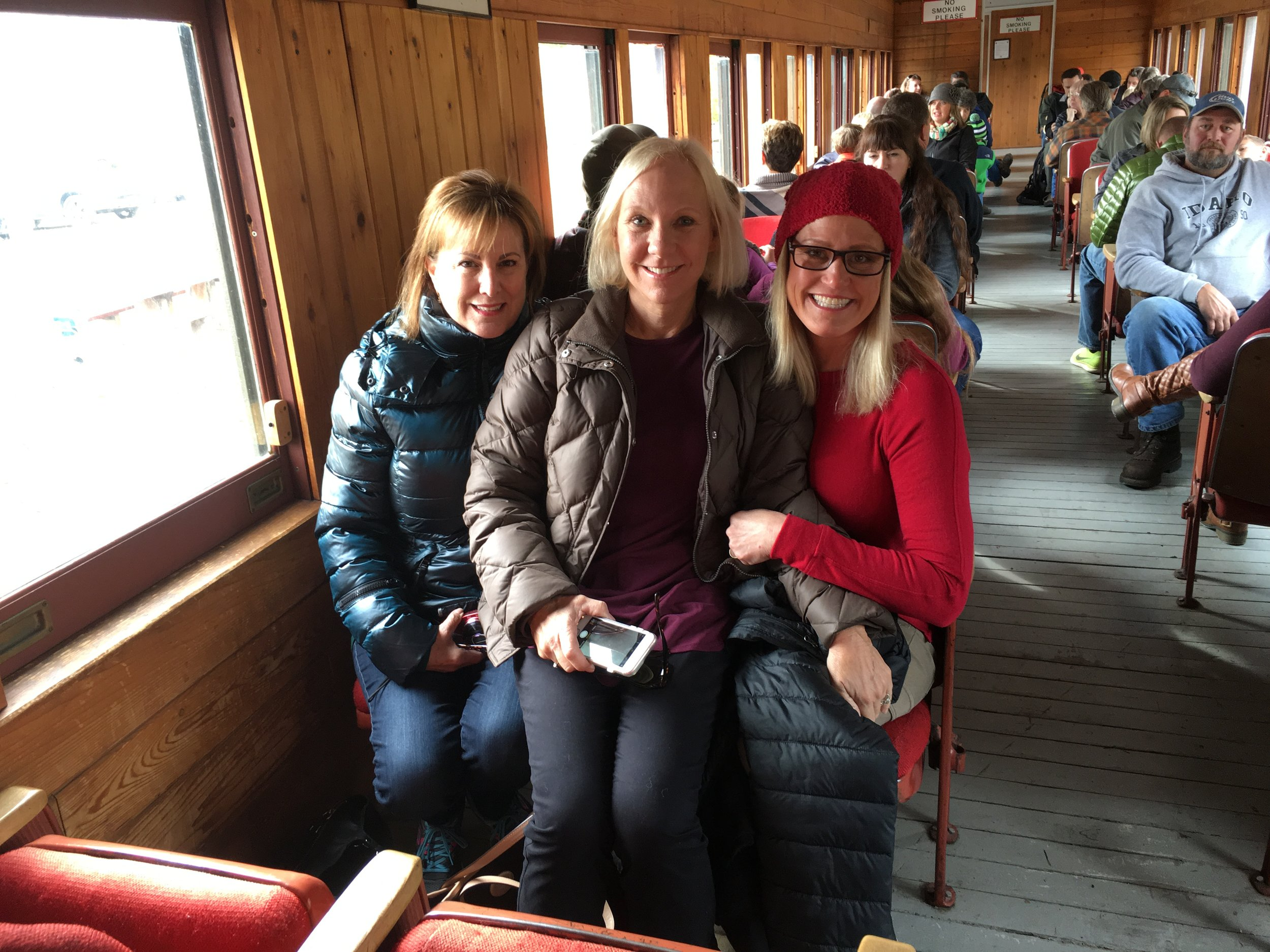 Debi, Jane, and me, riding the rails.